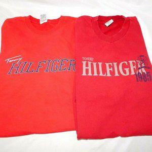 Lot 2 VTG 90s Tommy Hilfiger Mens XL Red T Shirts